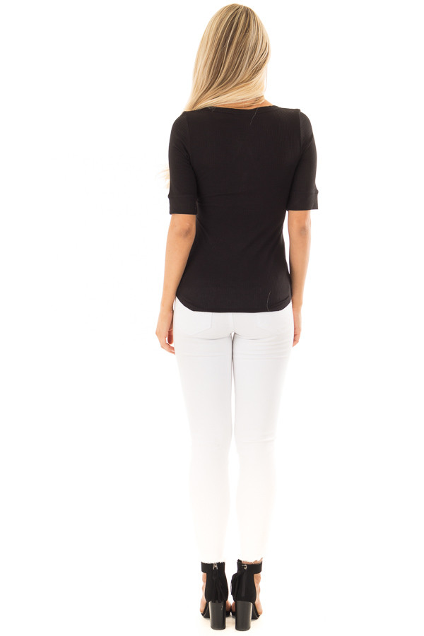 Black Ribbed Knit Top with Button Details back full body