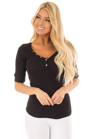 Black Ribbed Knit Top with Button Details front closeup
