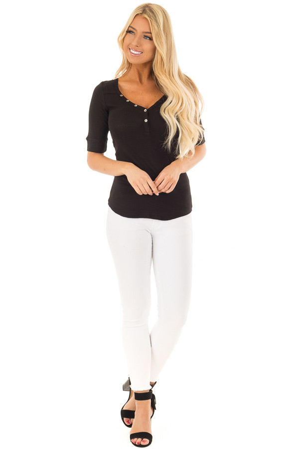 Black Ribbed Knit Top with Button Details front full body