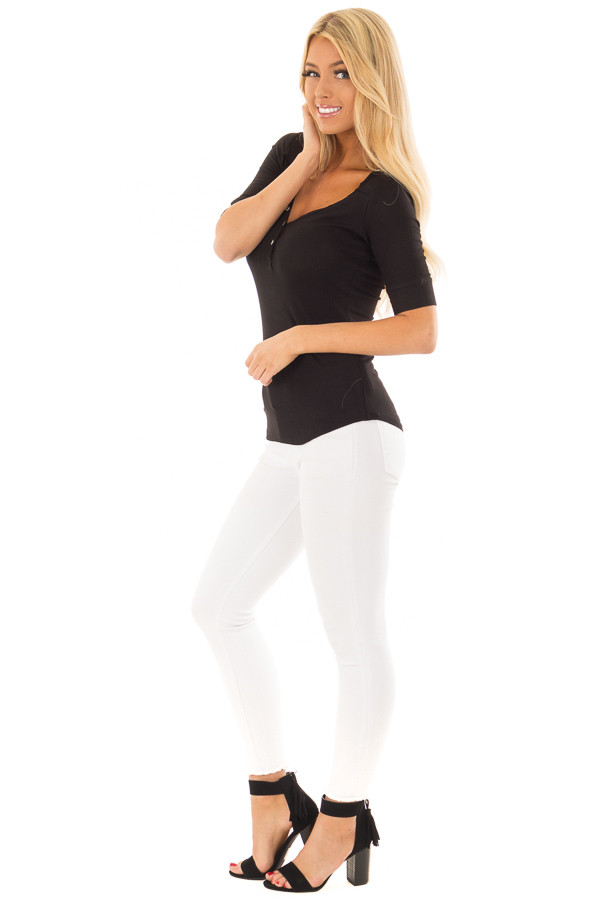 Black Ribbed Knit Top with Button Details side full body