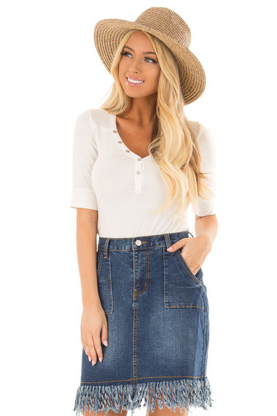 Pearl Ivory Ribbed Knit Top with Button Details front closeup