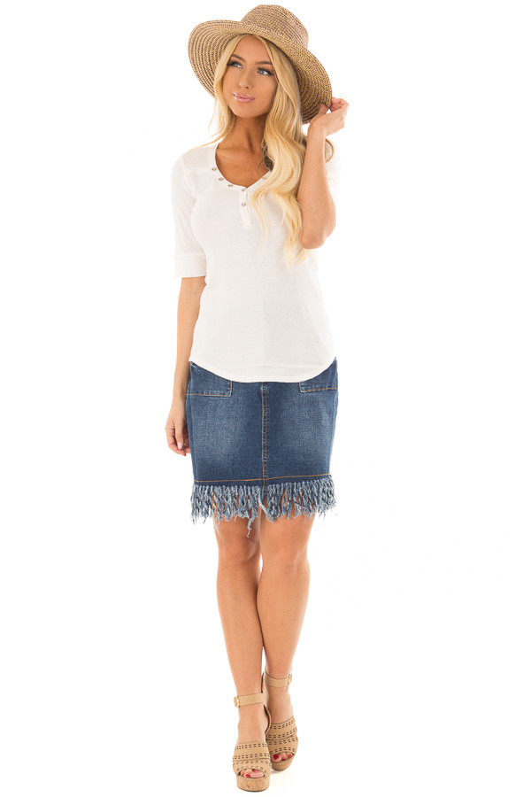 Pearl Ivory Ribbed Knit Top with Button Details front full body