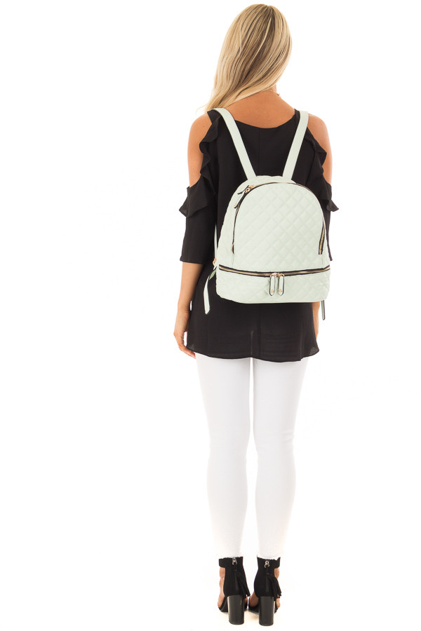Mint Quilted Small Backpack back full body