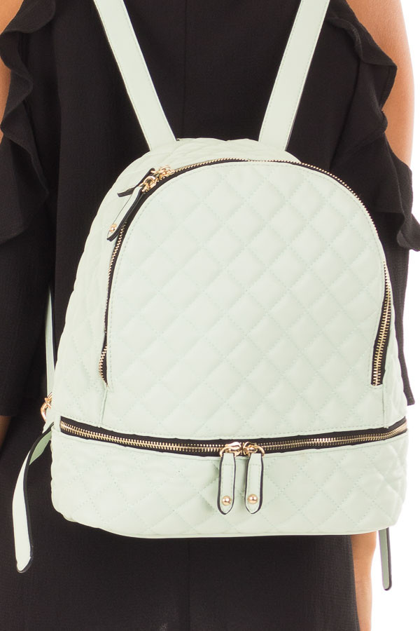 Mint Quilted Small Backpack detail
