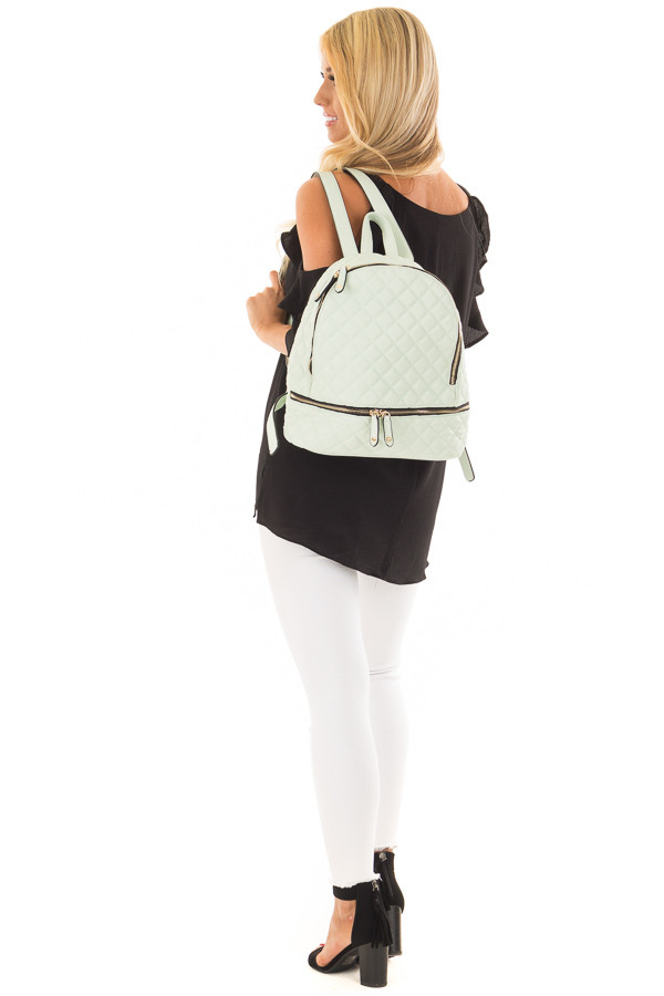 Mint Quilted Small Backpack side full body