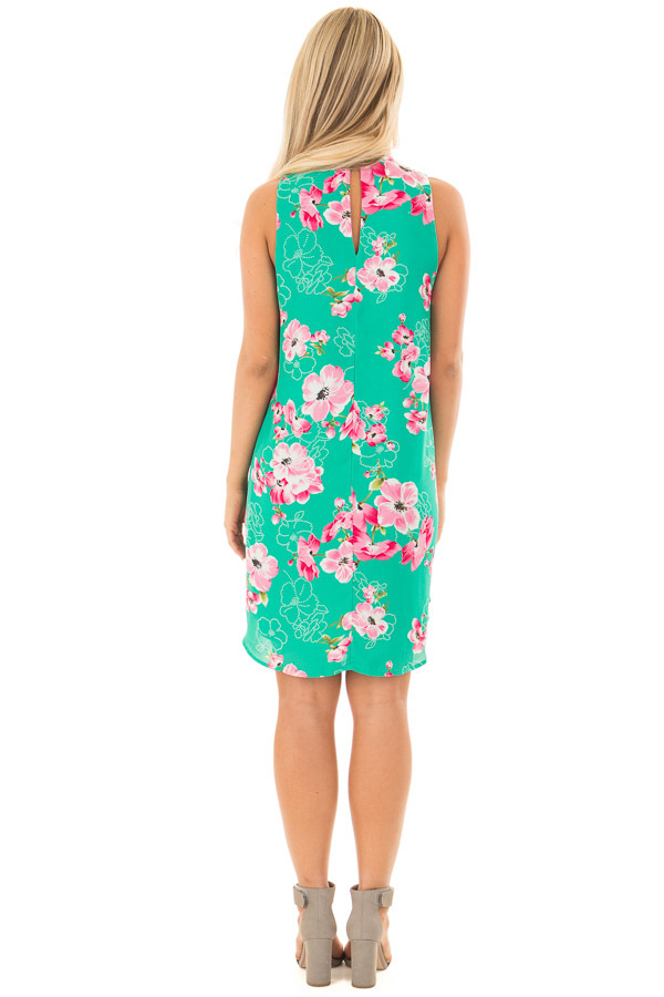 Kelly Green Floral Print Dress with Cut Out V Neckline back full body