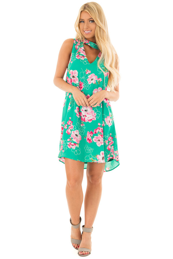 Kelly Green Floral Print Dress with Cut Out V Neckline front full body