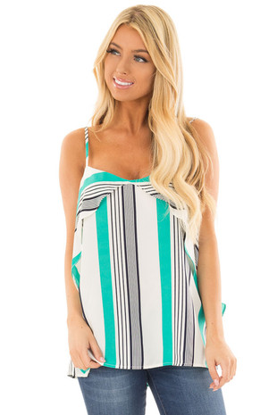 Jade Green and Navy Striped Tank Top with Overlay Detail front closeup