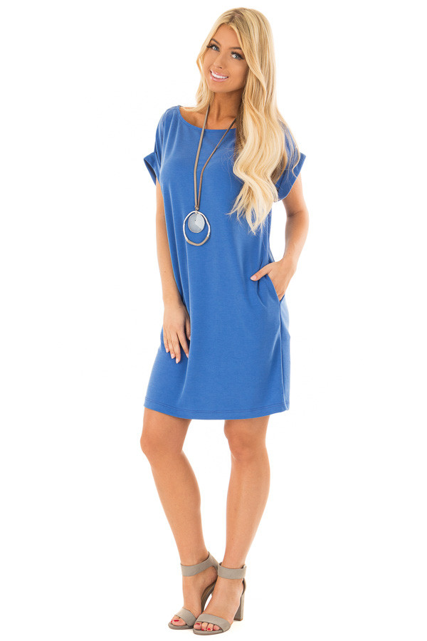 Caribbean Blue Short Sleeve Dress with Side Pockets front full body
