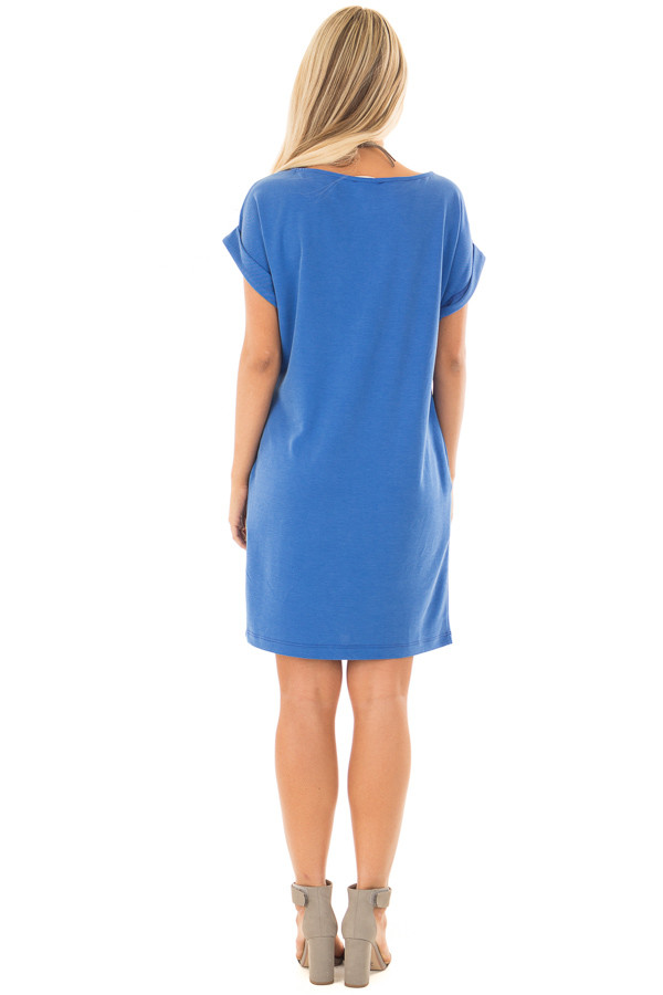 Caribbean Blue Short Sleeve Dress with Side Pockets back full body