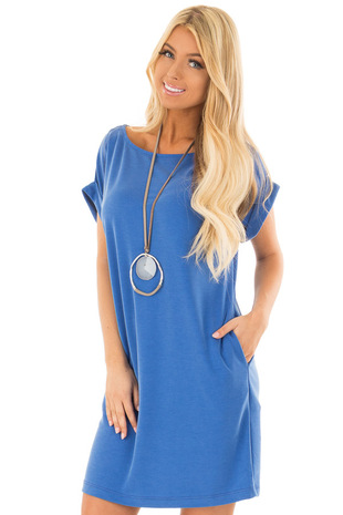 Caribbean Blue Short Sleeve Dress with Side Pockets front closeup