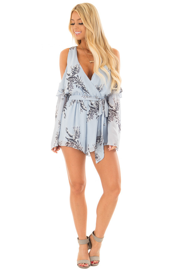 Sky Blue Floral Print Cold Shoulder Romper with Waist Tie front full body