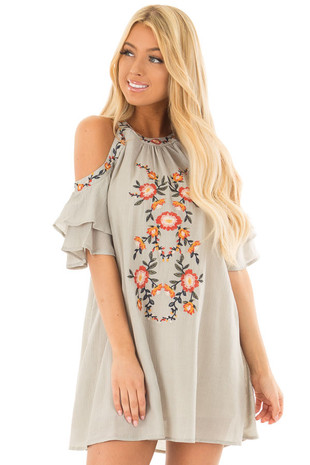 Dusty Sage Cold Shoulder Embroidered Tunic Top front closeup