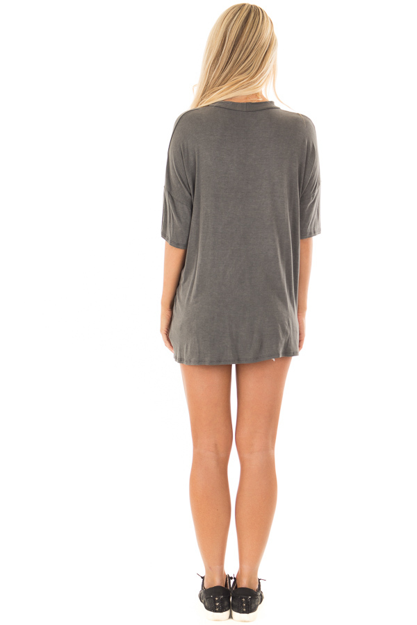 Charcoal Tee with Cut Out Neckline and Distressed Details back full body