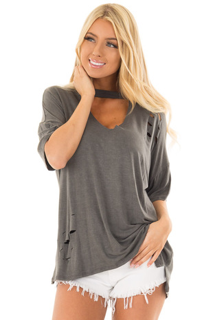 Charcoal Tee with Cut Out Neckline and Distressed Details front closeup