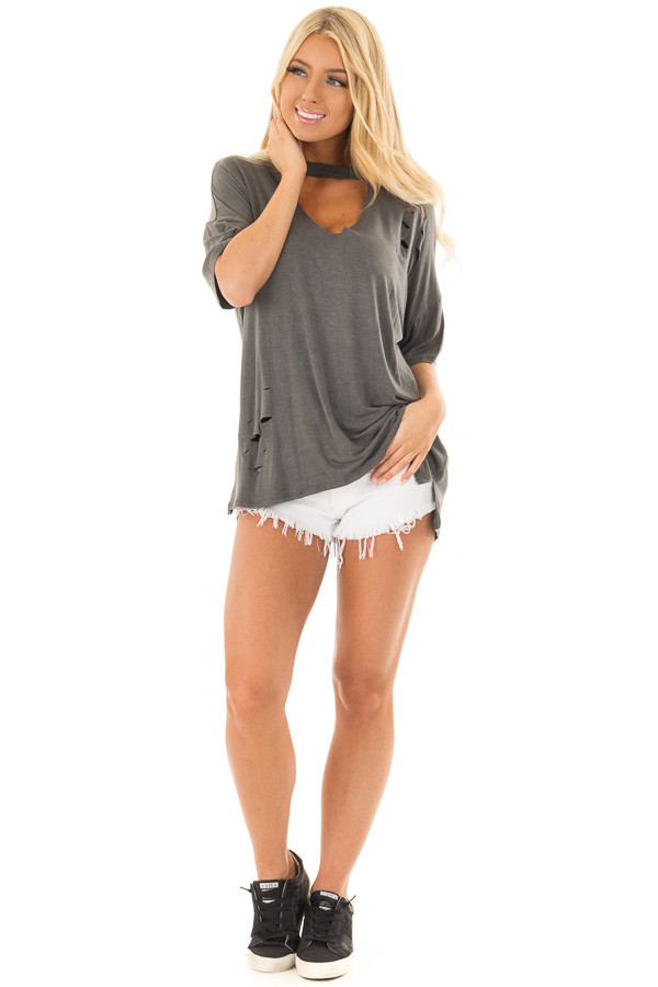 Charcoal Tee with Cut Out Neckline and Distressed Details front full body
