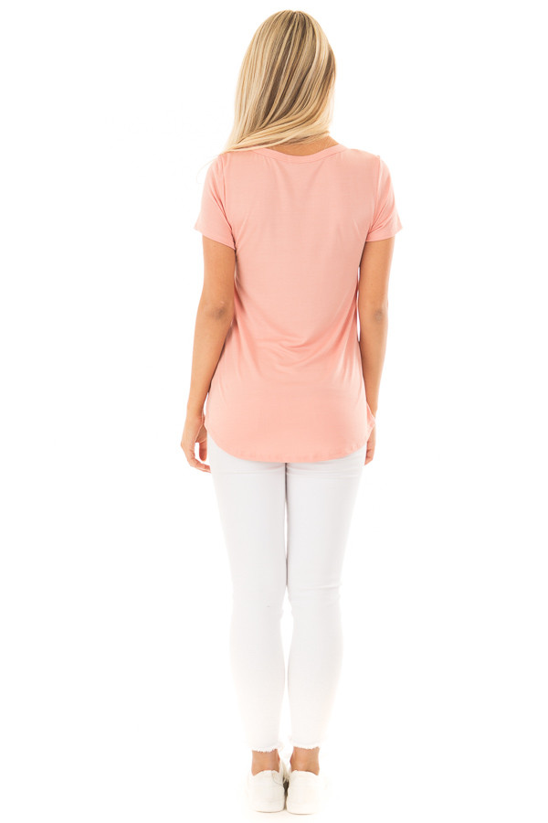 Peach Short Sleeve Tee with Distressed Front Pocket back full body