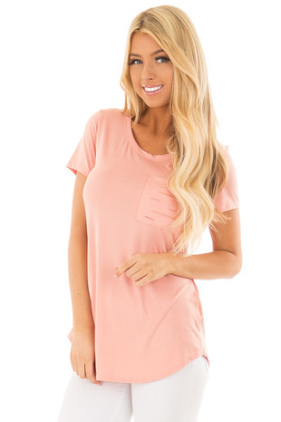Peach Short Sleeve Tee with Distressed Front Pocket front closeup
