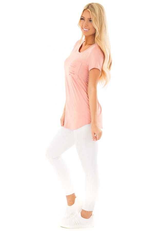 Peach Short Sleeve Tee with Distressed Front Pocket side full body
