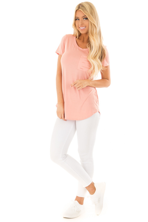 Peach Short Sleeve Tee with Distressed Front Pocket front full body