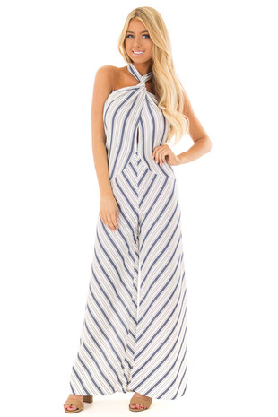 Navy and White Striped Halter Jumpsuit front full body