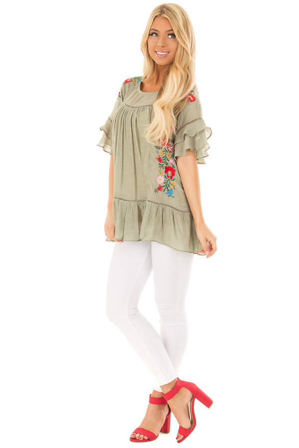 Sage Floral Embroidered Top with Ruffle Detail front full body