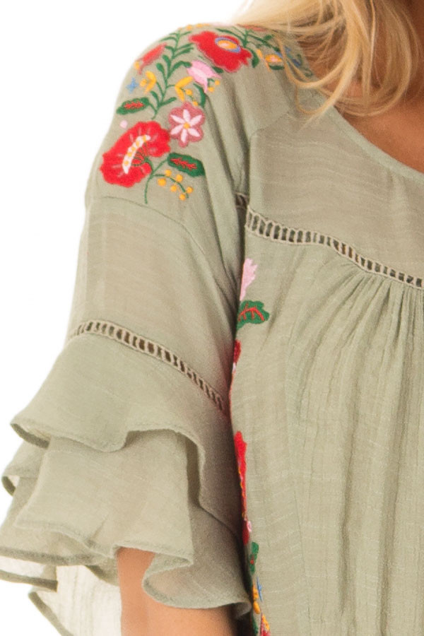 Sage Floral Embroidered Top with Ruffle Detail front detail