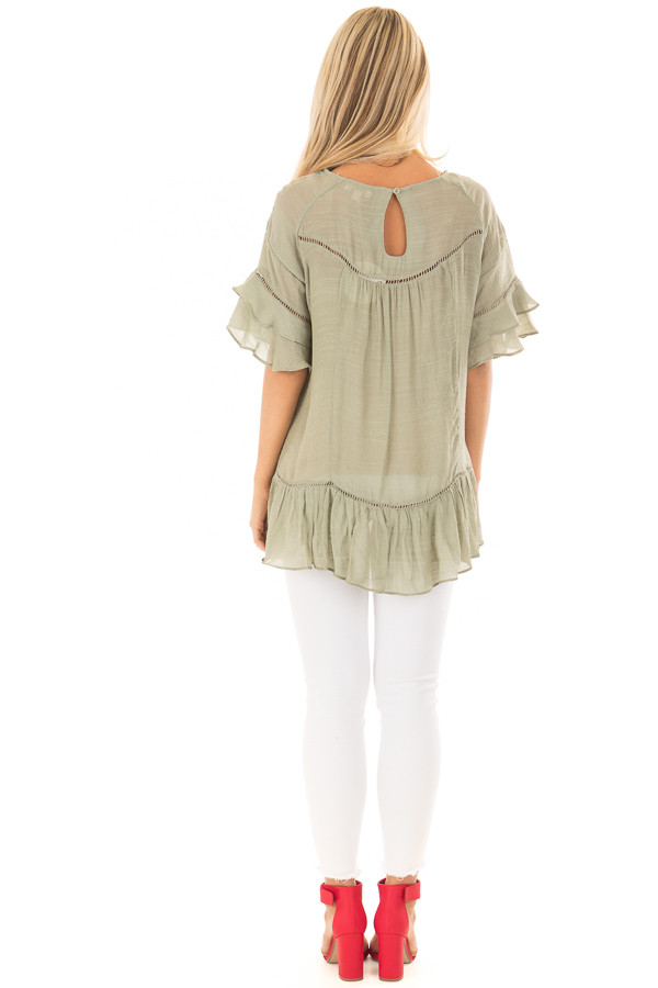 Sage Floral Embroidered Top with Ruffle Detail back full body