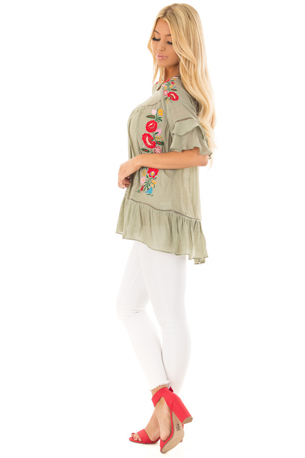 Sage Floral Embroidered Top with Ruffle Detail side full body
