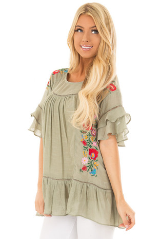 Sage Floral Embroidered Top with Ruffle Detail front closeup