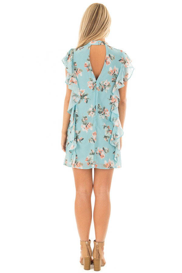 Sky Blue Floral Cap Sleeve Dress with Ruffle Details back full body