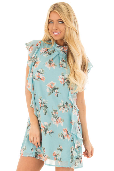Sky Blue Floral Cap Sleeve Dress with Ruffle Details front closeup
