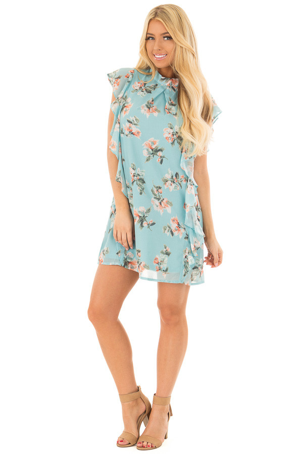 Sky Blue Floral Cap Sleeve Dress with Ruffle Details front full body