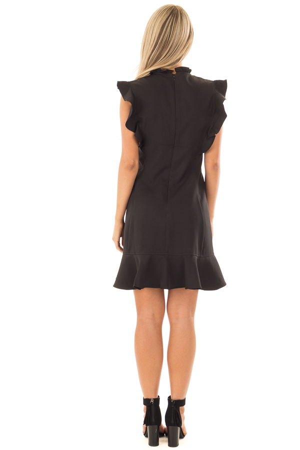 Black Dress with Ruffled Shoulders and Hemline back full body