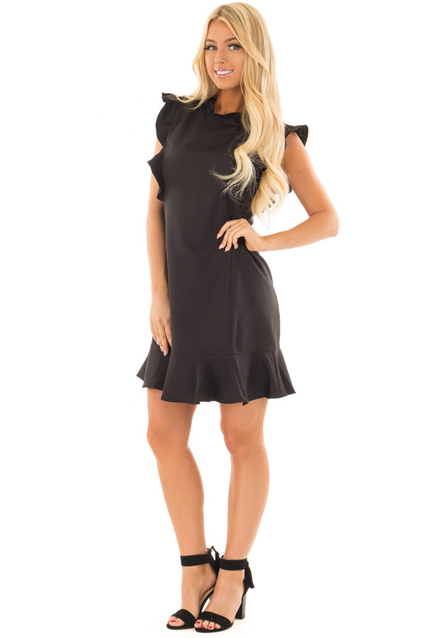 Black Dress with Ruffled Shoulders and Hemline front full body