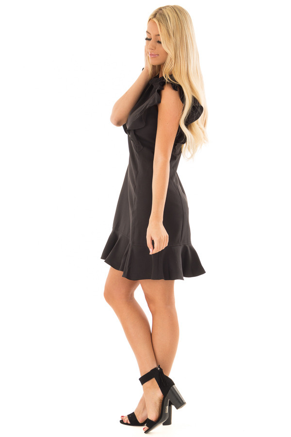 Black Dress with Ruffled Shoulders and Hemline side full body