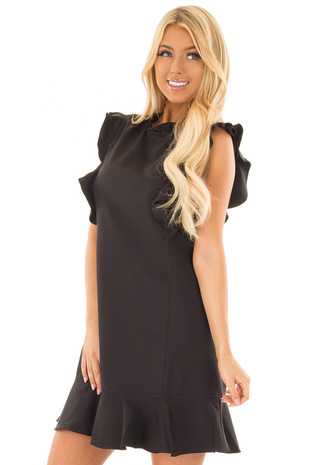 Black Dress with Ruffled Shoulders and Hemline front closeup