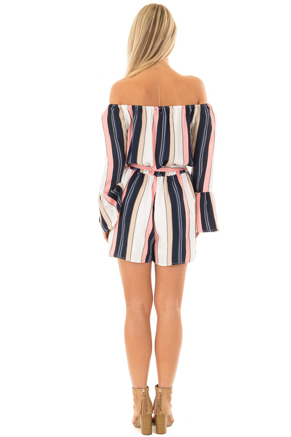 Multi Striped Off Shoulder Romper with Waist Tie back full body