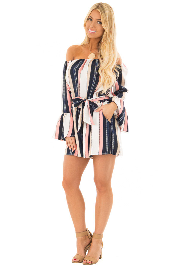 Multi Striped Off Shoulder Romper with Waist Tie front full body