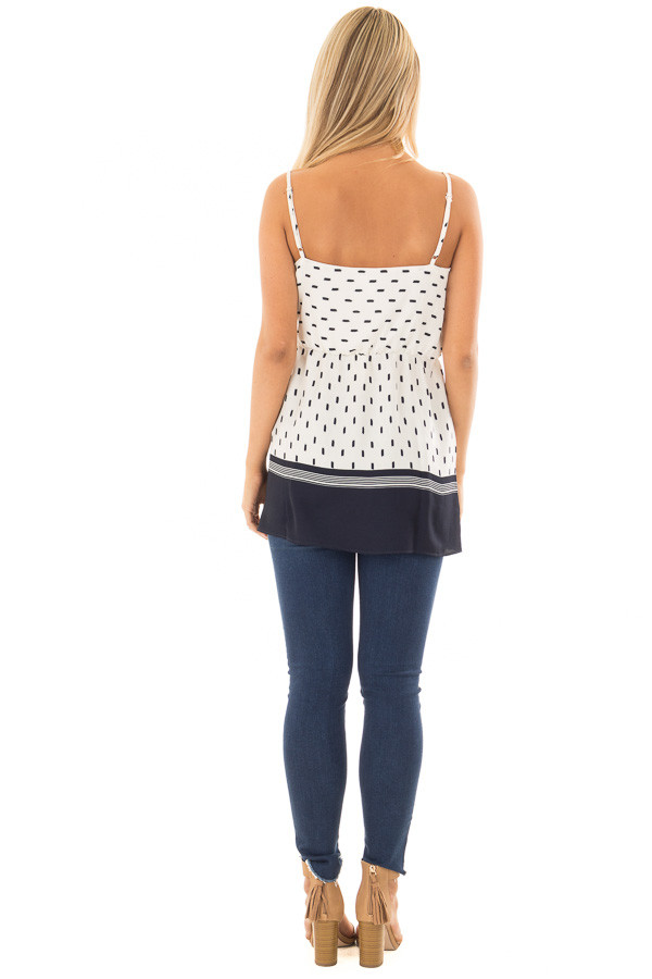Ivory and Navy Printed Crossover Tank Top back full body