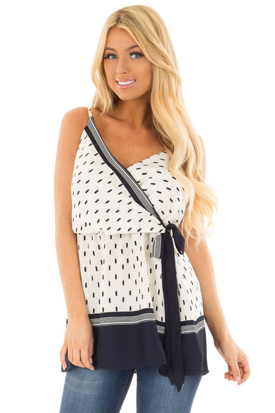 Ivory and Navy Printed Crossover Tank Top front closeup