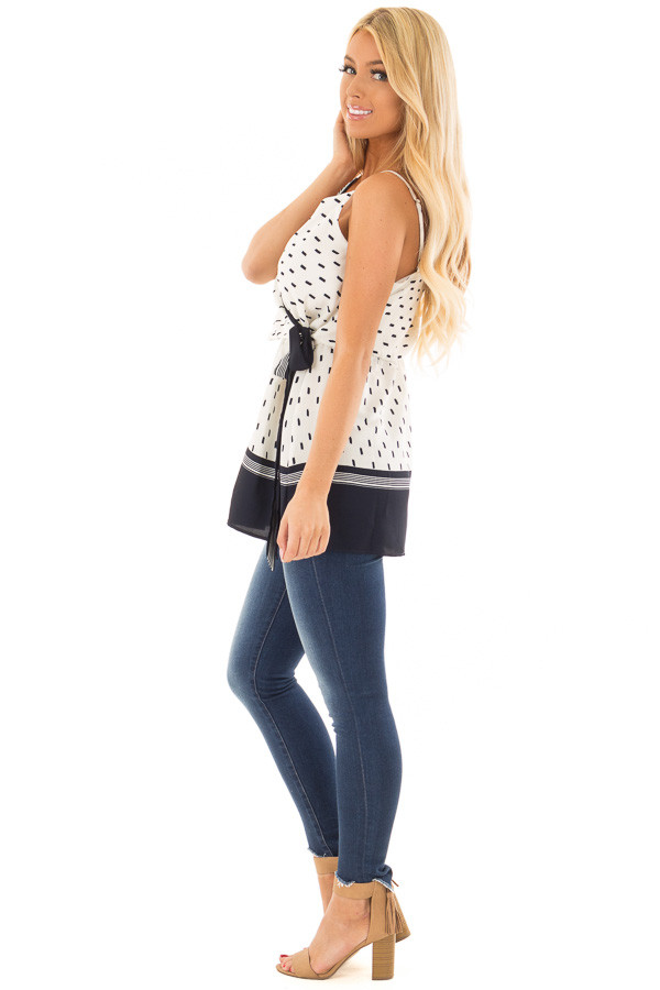 Ivory and Navy Printed Crossover Tank Top side full body