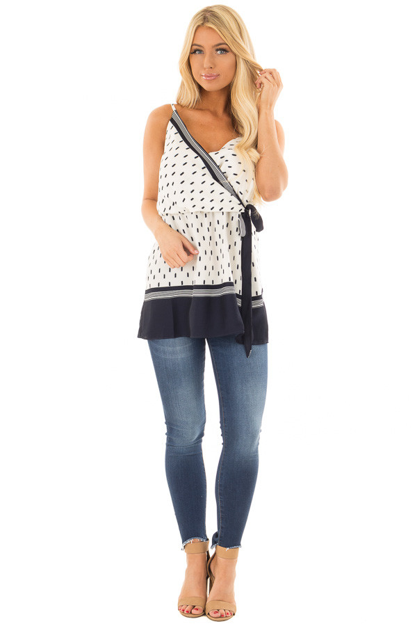 Ivory and Navy Printed Crossover Tank Top front full body