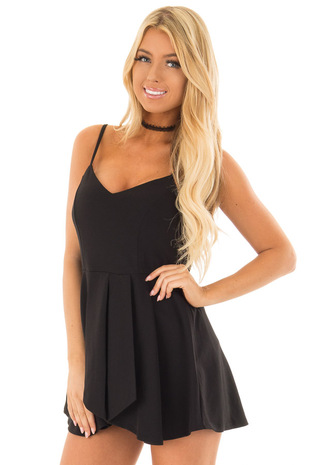 Black Romper with Split Skirt Overlay front closeup