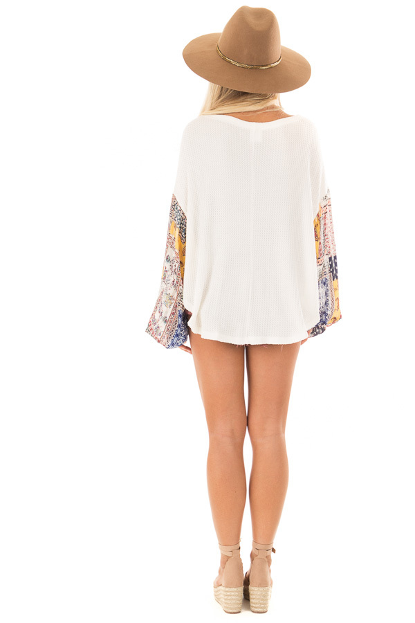 Ivory Waffle Knit Top with Flowy Multicolor Bubble Sleeves back full body