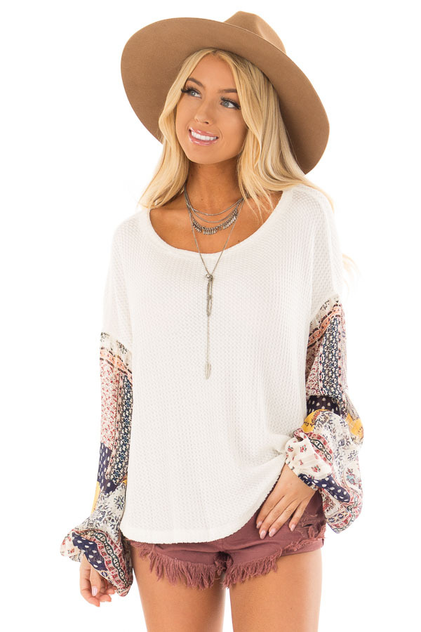 Ivory Waffle Knit Top with Flowy Multicolor Bubble Sleeves front closeup