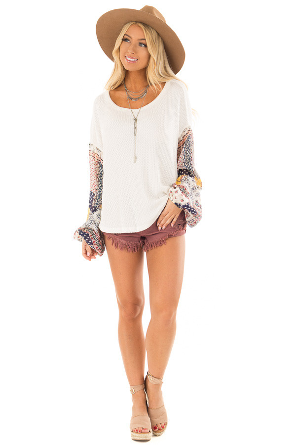 Ivory Waffle Knit Top with Flowy Multicolor Bubble Sleeves front full body