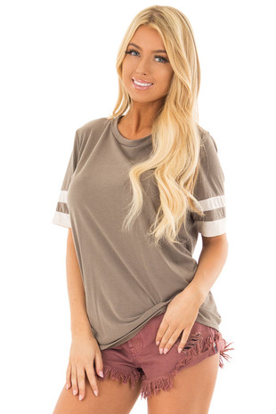 Mocha Short Sleeve Tee Shirt with Ivory Varsity Stripes front closeup