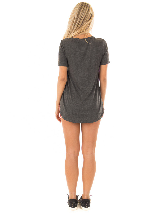 Charcoal V Neck Top with Side Slits back full body
