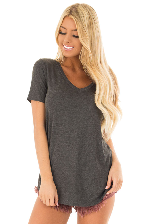 Charcoal V Neck Top with Side Slits front closeup